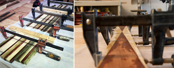 Wood laminated and clamped for longboard skateboard decks.