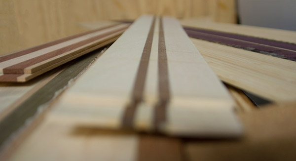 Proprietary veneers made by Makai Project for longboard skateboard decks.